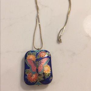 Jewelry - 24 inch blue enamel cloisonné butterfly pendant